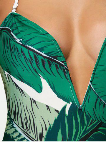 Outfit Printed Halter One Piece Swimsuit - M WHITE AND GREEN Mobile