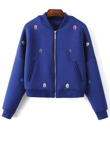 Discount Space Cotton Tree Embroidered Jacket - L BLUE Mobile