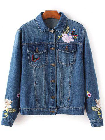 Hot Flower Embroidered Jean Jacket