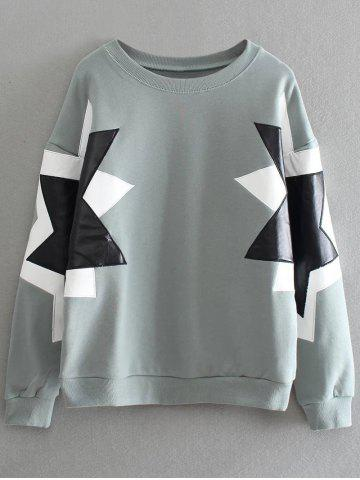 Fancy Pentagram Pattern PU Leather Panel Sweatshirt - ONE SIZE SAGE GREEN Mobile