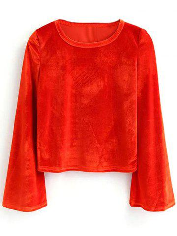 New Flare Sleeve Pleuche Cropped T-Shirt