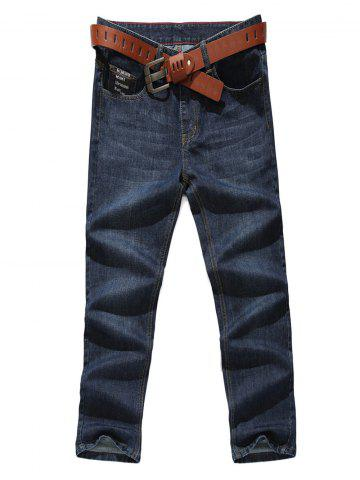 Letter Pocket Zip Fly Straight Leg Jeans - Denim Blue - 30