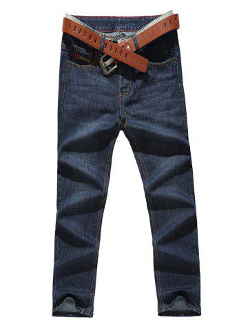 Buy Zip Fly Straight Leg Jeans DENIM BLUE 38