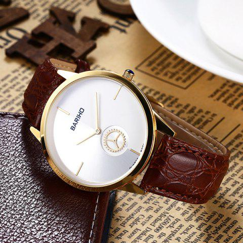 Trendy Vintage Faux Leather Gear Watch - BROWN  Mobile