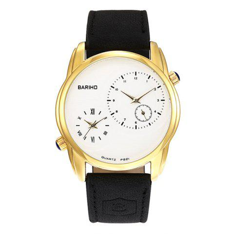 Montre Quartz Vintage Faux Leather Or