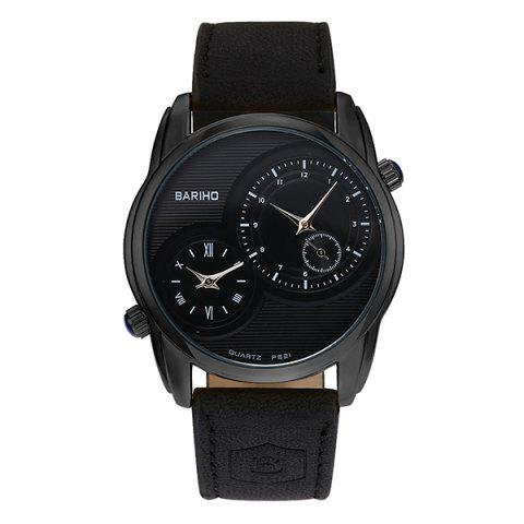 Fashion Faux Leather Vintage Quartz Watch BLACK