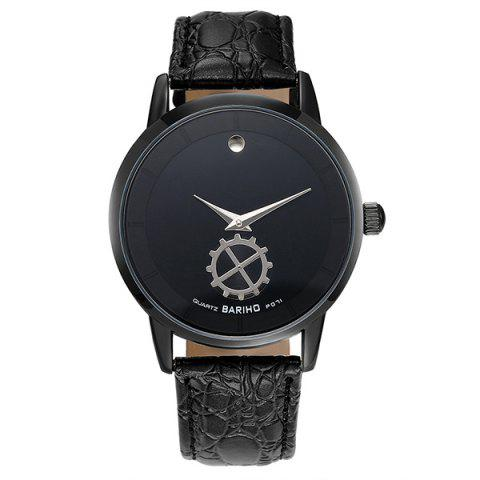 Latest Faux Leather Vintage Analog Watch BLACK