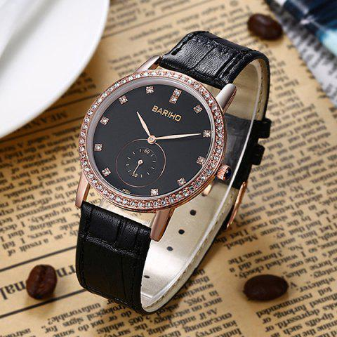 Affordable Vintage Faux Leather Rhinestone Watch - ROSE GOLD  Mobile