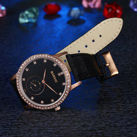 Trendy Vintage Faux Leather Rhinestone Watch - ROSE GOLD  Mobile