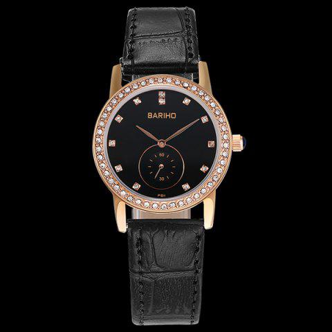 Latest Vintage Faux Leather Rhinestone Watch - ROSE GOLD  Mobile
