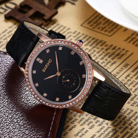 Fancy Vintage Faux Leather Rhinestone Watch - ROSE GOLD  Mobile