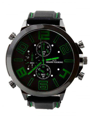 Chic Outdoor Rubber Analog Number Watch GREEN