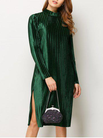 Sale Stand Neck Long Sleeve Pleated Pleuche Dress GREEN S