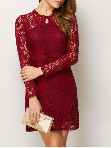 Fashion Long Sleeve Openwork Lace Club Mini Dress - S RED Mobile