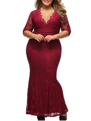 Outfits Lace Plus Size Bodycon Maxi Formal Dress with Sleeves WINE RED XL