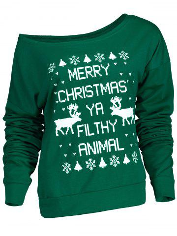 Discount Fresh Style Letter and Snowflake Print Pullover Christmas Sweatshirt For Women