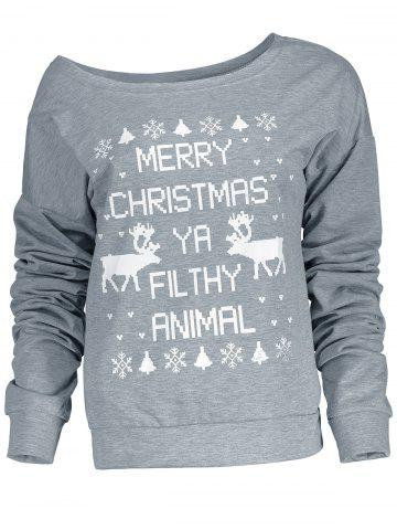 Sale Fresh Style Letter and Snowflake Print Pullover Christmas Sweatshirt For Women