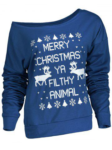 Online Fresh Style Letter and Snowflake Print Pullover Christmas Sweatshirt For Women