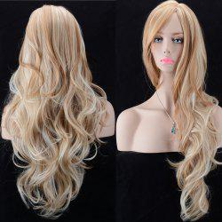 Ultra Long Oblique Parting Shaggy Wavy Color Mix Synthetic Wig - COLORMIX
