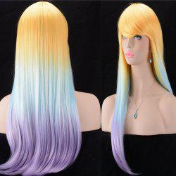 Ultra Long Inclined Bang Silky Straigt Color Mix Synthetic Wig