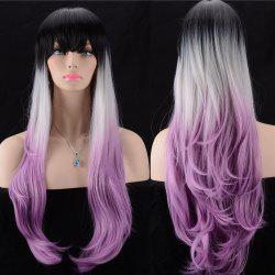 Ultra Long Full Bang Slightly Curled Color Mix Synthetic Wig