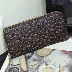 Geometric Pattern Zip Around Clutch Wallet - BLACK