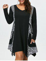 Plus Size Long Sleeve Asymmetrical Casual Dress with Pockets - WHITE AND BLACK