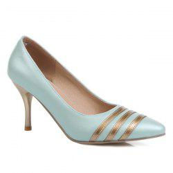 Striped Color Block Stitching Pumps