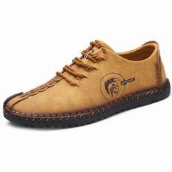 Faux Leather Stitching Lace Up Casual Shoes