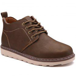 Stitching Faux Leather Tie Up Boots - BROWN