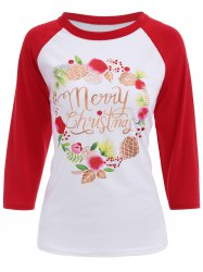 Raglan Sleeves Christmas Print T-Shirt