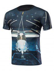 Short Sleeve 3D Aircraft Print T-Shirt - BLACK XL