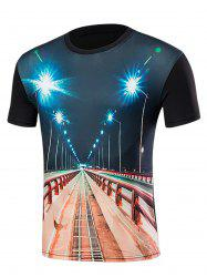 Short Sleeve 3D Highway Print T-Shirt - BLACK L