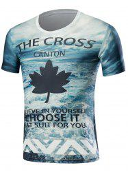 Short Sleeve 3D Sea and Maple Leaf Print T-Shirt