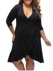Flounce Plus Size Wrap Dress