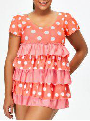 Polka Dot Plus Size Ruffles Skirted One Piece Swimsuit
