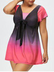 Gradient Color Block Backless Plus Size Swimwear - BLACK AND PINK