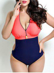 Pendant Two Tone Halter Monokini One-Piece Swimwear