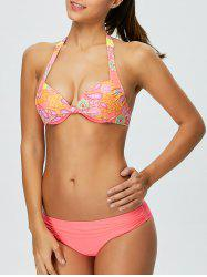 Floral Halter Bikini Top and Bottoms