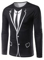3D Counterfeit Suit Print Long Sleeve T-Shirt - BLACK