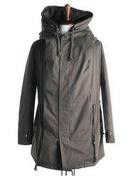 Drawstring Back Slit Cotton Padded Parka Coat
