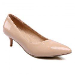 Kitten Heel Patent Leather Pumps - NUDE