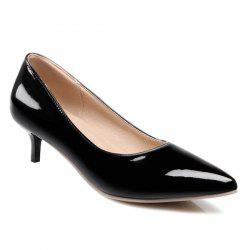Kitten Heel Patent Leather Pumps - BLACK