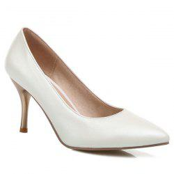 Pointed Toe PU Leather Pumps - OFF-WHITE
