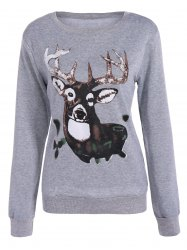Christmas Elk Pullover Sweatshirt - LIGHT GRAY