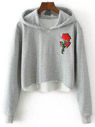 Hooded Rose Embroidered Cropped Hoodie -