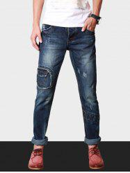 Slim Fit Button Fly Destroyed Jeans
