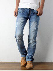 Straight Destroyed Light Denim Jeans