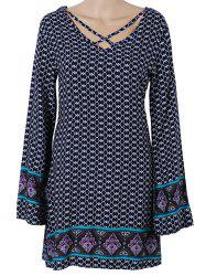 Long Sleeve Paisley Printed Mini Dress - PURPLISH BLUE