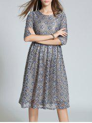 High Waist Embroidery Lace Dress - GRAY